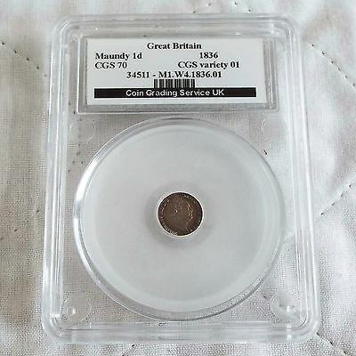 William Iv 1836 Silver Maundy One Penny Slabbed Cgs 70