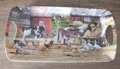 Country Life Scene Farm Animals Serving Tray With Handles Melamine