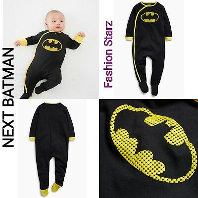 New*bnwt Next Baby Boy  Newborn 3-6-9 12-18 Batman Cotton Sleepsuits/babygrows