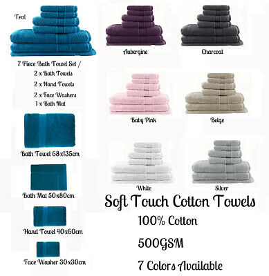 Soft Touch 100% Cotton Bath Towel Hand Towel Face Washer Bath Mat Or Towel Set
