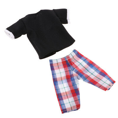 Clothes For Barbie's boy friend Ken Doll Dress Up Shirt Tops Checked Pants