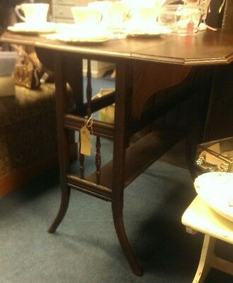 vintage antique small drop leaf side table card table dark wood kitchen table