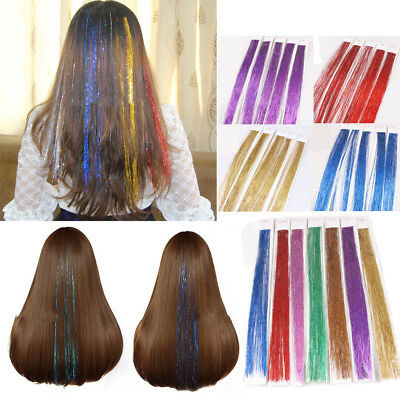 "200 Strands Holographic Sparkle Hair Glitter Tinsel Extensions Dazzles 38"" 98CM."