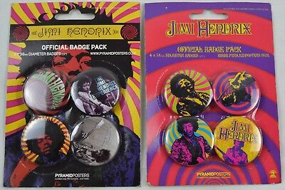 4 x 38mm Jimi Hendrix Official Button Badge Pack Set Collection Experience Music