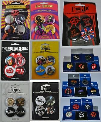The Beatles Rolling Stones Ramones Punk Hendrix Bowie Official Button Pack Set