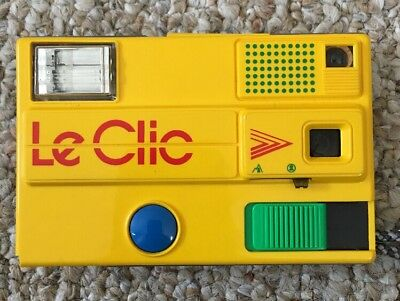 Vintage Yellow Le Clic Disc Camera with Carry Bag 1980s Retro