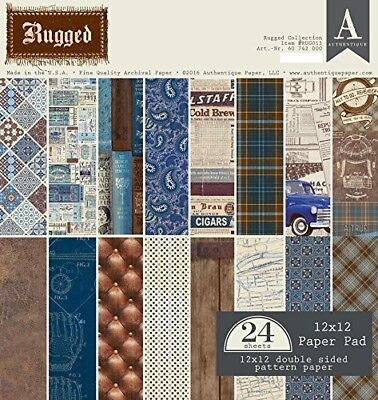 Authentique Paper RUG013 Rugged 12x12 Paper Pad. Free Delivery