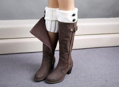 Boot Cuffs Socks Toppers Womens Crochet Knit Leg Calf Warmers with Buttons