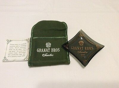 """Vintage Granat Brothers Jewelers Green Glass Tray Dish Advertising 2.5"""" New"""