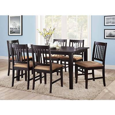 6 pc Dining Room Kitchen Set Wood Cushioned Comfort Chairs Espresso
