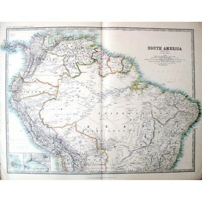 SOUTH AMERICA Northern Part, inset Lima, Callaos - Antique Map 1910 by Johnston