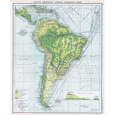 SOUTH AMERICA General Commercial Chart - Antique Map c1906
