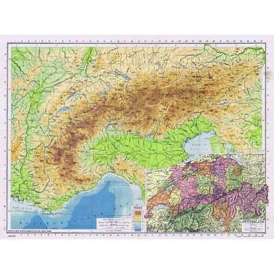 SWITZERLAND inc Physical Map of The Alps - Vintage Map 1945