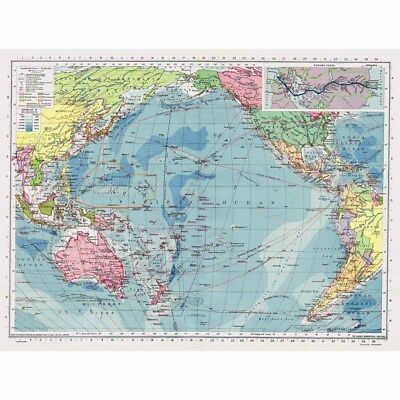 PACIFIC OCEAN Communications Map inc PANAMA Canal - Vintage Map 1945