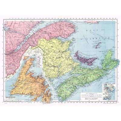 CANADA Maritime Provinces with Newfoundland and Halifax - Vintage Map 1945