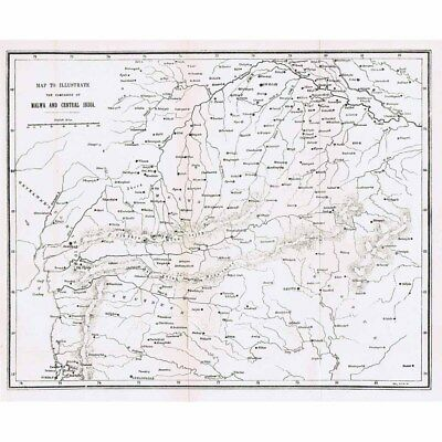INDIA Campaigns of Malwa & Central India During the Mutiny - Antique Map 1880