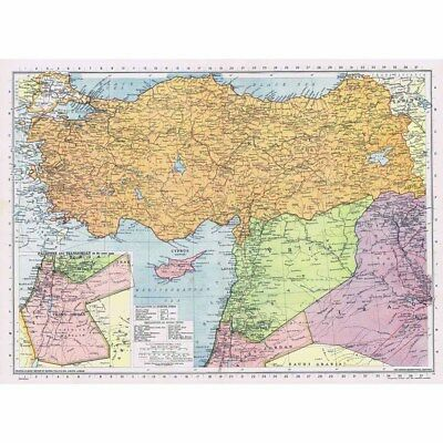 TURKEY, CYPRUS, SYRIA, PALESTINE and TRANS-JORDAN - Vintage Map 1945