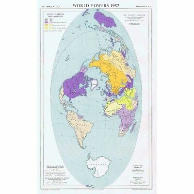 WORLD MAP showing World Powers inc Post-war Pacts and Treaties -Vintage Map 1956