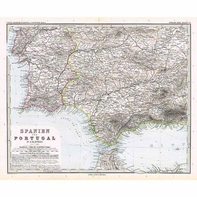 SPAIN and PORTUGAL SW Section, Gibraltar, Malaga - Antique Stieler Map 1891