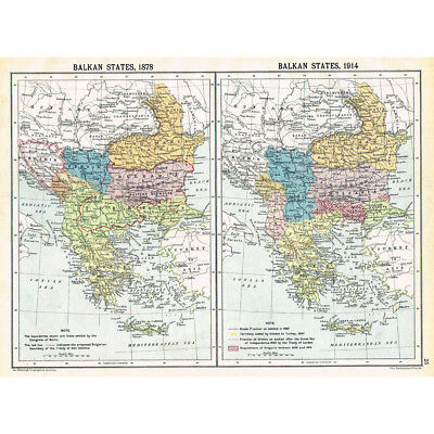 BALKAN STATES - 1878 and in 1914 - Vintage Map 1922