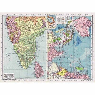 INDIA South with Ceylon and The Indian Ocean Communications - Vintage Map 1945