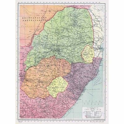 UNION of SOUTH AFRICA inc Swaziland, Basutoland, Transvaal - Vintage Map 1945