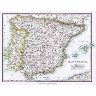 Antique Map 1914 - Spain and Portugal by W & AK Johnston