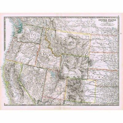 UNITED STATES (NW) Antique Map 1894 by Johnston; Oregon, Wyoming, Utah, Montana