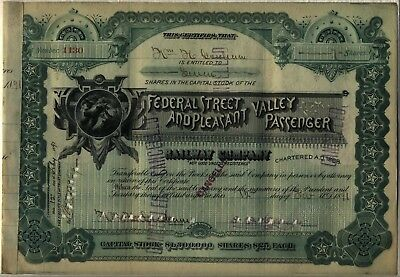 Federal Street & Pleasant Valley Passenger Railway Company Stock Certificate