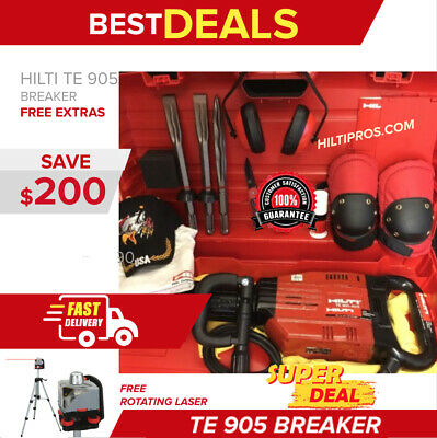 Hilti Te 905 Avr, Preowned, Free Rotating Laser, Chisels, Plus Extras, Fast Ship