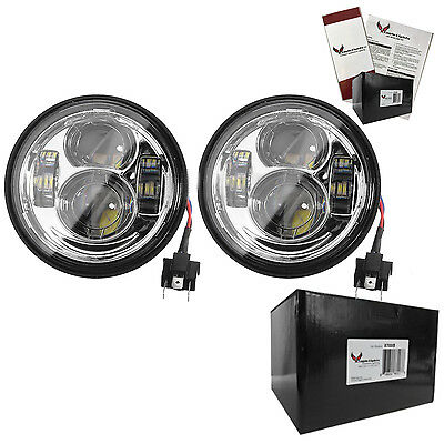Eagle Lights Fat Bob Chrome Dual LED Headlight Kit - Harley Fat Bob