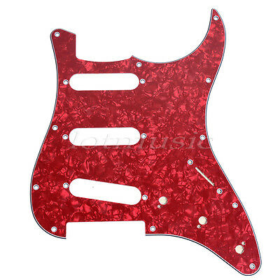 Electric Guitar SSS Pickguard For Fender Stratocaster Strat Parts 3Ply Red Pearl