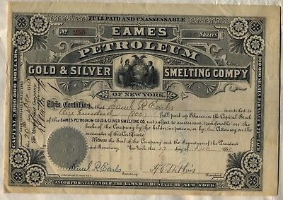 Eames Petroleum Gold & Silver Smelting Company Stock Certificate New York