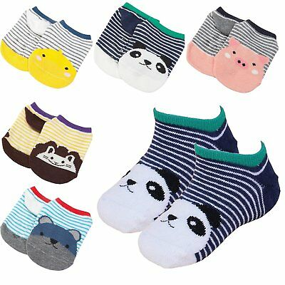 5 Pairs Baby Anti Slip Ankle Cotton Socks Toddler Striped Non Skid Grip Soles M,