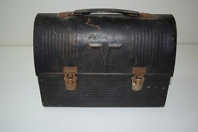 Vintage Thermos Brand Black Metal Lunch Box With Dome Top