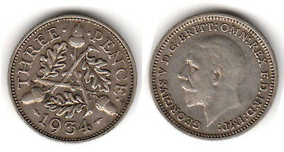 3 pence 1934 small siver coin -Liquidation-
