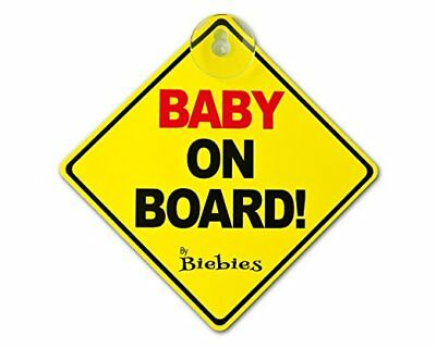 "Biebies ""Baby On Board"" Large Window Safety Suction Cup Car Sign Yellow & Red"