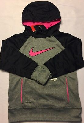 Nike Girls KO 3.0 Applique Pullover Hoodie Pink Black Gray 853718