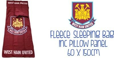 West Ham United Fleece Sleeping Bag With Pillow Panel 60x150cm Ideal Gift New