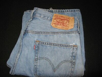 LEVIS 501 VINTAGE JEANS – Distressed, FADED FRAYED DENIM BLUE 80s RED TAB STRAIG