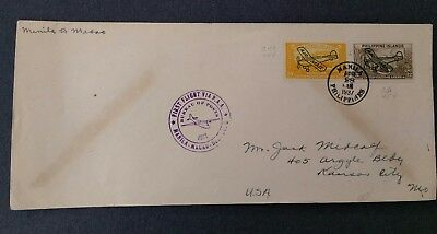 First Flight Cover Manila to Macao 1937  air mail overprints