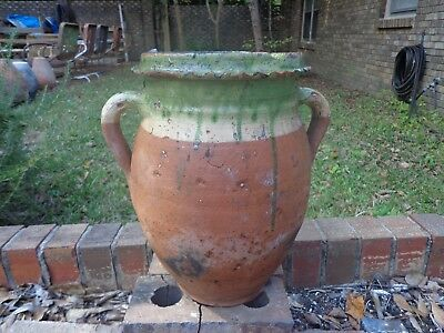 Rare Antique 19Th Century Terra Cotta French Confit Pot With Crimped Rim