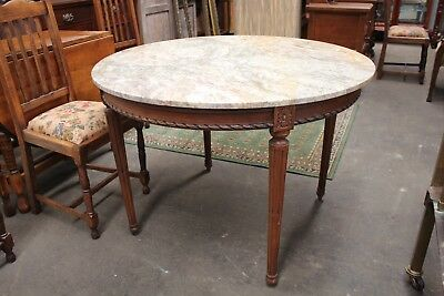 Antique French Louis XV solid marble top DINING TABLE carved desk Occasional