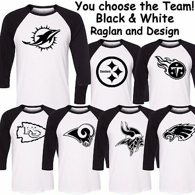 Raglan Football Team White with Black Sleeves Shirts - You choose the Team!