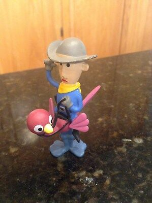 """Misfit Cowboy riding ostrich Rudolph Red Nosed Reindeer RARE 3"""" figure topper"""