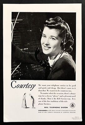 1940 Vintage Print Ad BELL TELEPHONE SYSTEM Switchboard Operator Phone 40's
