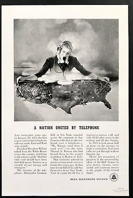 1940 Vintage Print Ad BELL TELEPHONE SYSTEM Phone Operator Nation Communication