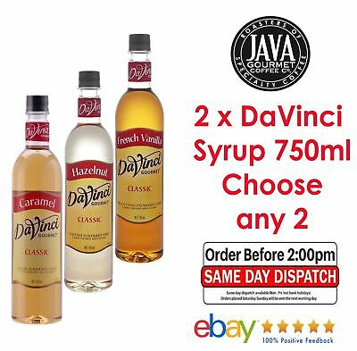 CHOOSE 2 x DaVinci Flavoured Syrup 750ml (11 Flavours)