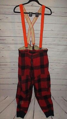 VTG Woolrich Bib Wool Overalls Coveralls Buffalo Check Plaid Hunting USA 39 X 30
