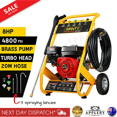 8HP High Pressure Washer Cleaner Petrol Water Gurney 20M Hose 4800PSI New